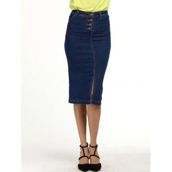 Buttoned Knee Length Denim Pencil Skirt