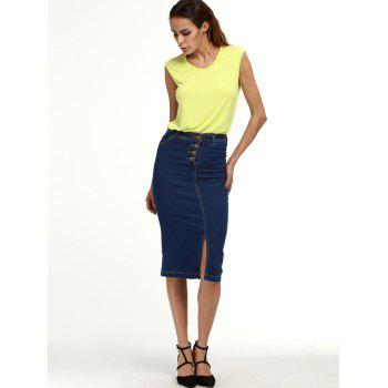 Buttoned Knee Length Denim Pencil Skirt - DEEP BLUE DEEP BLUE