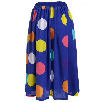 Big Polka Dot Print Elastic Waisted Midi Skirt - BLUE M