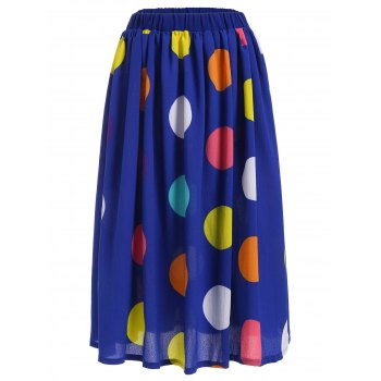 Big Polka Dot Print Elastic Waisted Midi Skirt