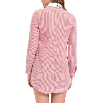 Striped Long Sleeve Lace Trim Shirt Dress - XL XL