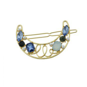 Faux Gem Insert Hollow Out Moon Hair Clip -  BLUE