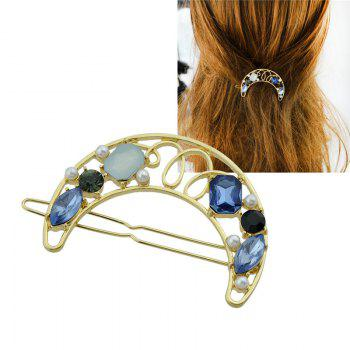 Faux Gem Insert Hollow Out Moon Hair Clip - BLUE BLUE