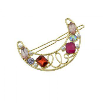 Faux Gem Insert Hollow Out Moon Hair Clip -  RED