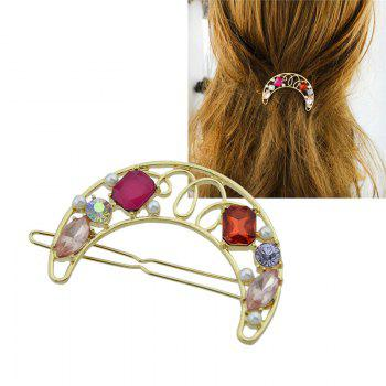 Faux Gem Insert Hollow Out Moon Hair Clip - RED RED