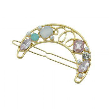 Faux Gem Insert Hollow Out Moon Hair Clip -  PINK