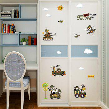 Cartoon Animal Troops Removable Wall Art Sticker - ARMY GREEN 50*70CM