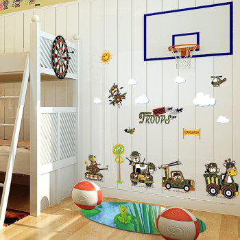 Cartoon Animal Troops Removable Wall Art Sticker - 50*70CM 50*70CM