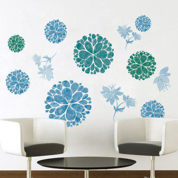 Floral Removable Wall Art Stickers - ICE BLUE ICE BLUE
