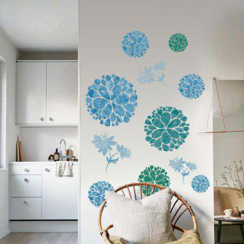Floral Removable Wall Art Stickers - ICE BLUE 60*90CM