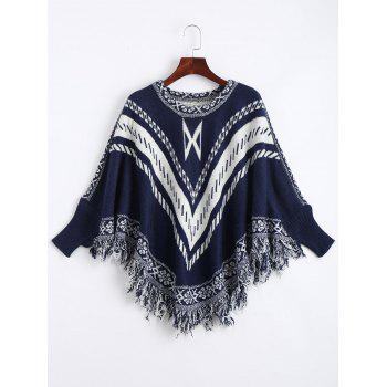 Plus Size Jacquard Fringed Poncho Sweater