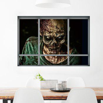 Halloween Window Zombie 3D Wall Art Sticker - COLORMIX 48.5*68CM