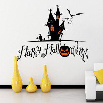 Halloween Castle Shape DIY Wall Stickers - BLACK BLACK