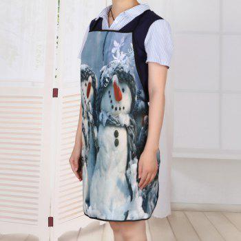 Snowman Family Print Waterproof Apron - GREY WHITE 80*70CM