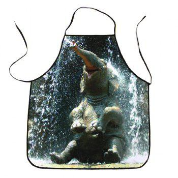 Elephant Bathing Print Waterproof Kitchen Apron - BLACK GREY BLACK GREY
