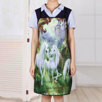 Unicorn Castle Print Waterproof Apron - 80*70CM 80*70CM