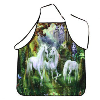 Unicorn Castle Print Waterproof Apron - COLORMIX 80*70CM