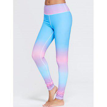 Rainbow Color Ombre Gym Leggings - BLUE S