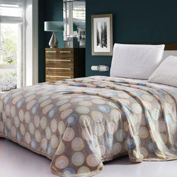 Round Printed Bedroom Soft Throw Blanket - LIGHT BLUE DOT PATTERN DOUBLE
