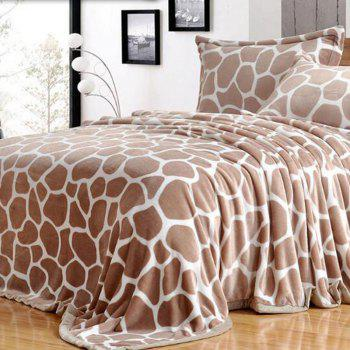 Giraffe Grain Printed Bedroom Bed Throw Blanket - GIRAFFE DOUBLE