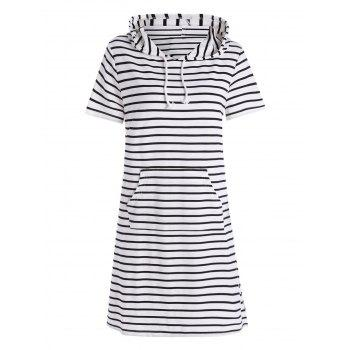 Striped Plus Size Pocket Hooded Tee Dress