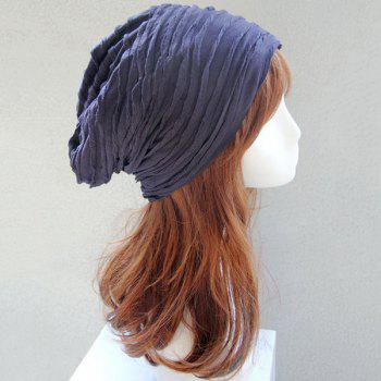 Knitting Folding Layered Warm Beanie -  CADETBLUE