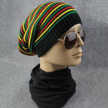 Striped Iridescence Knitted Folding Beanie - COLORFUL