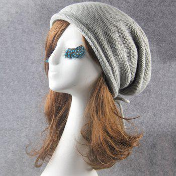 Knitted Lace Up Warm Beanie -  LIGHT GRAY