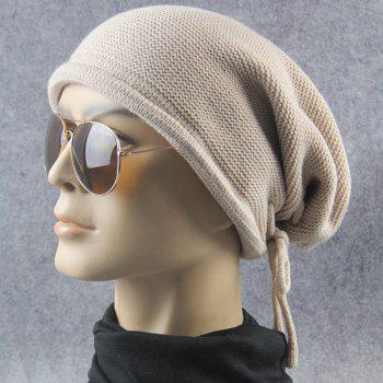 Knitted Lace Up Warm Beanie -  BEIGE