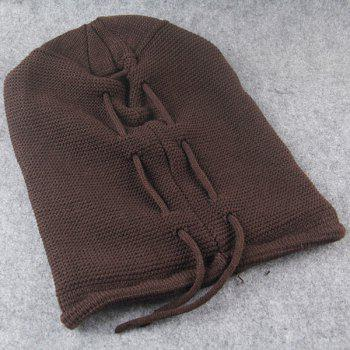 Knitted Lace Up Warm Beanie -  COFFEE