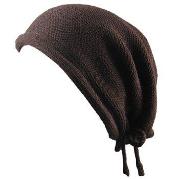 Knitted Lace Up Warm Beanie - COFFEE COFFEE