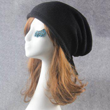 Knitted Lace Up Warm Beanie -  BLACK