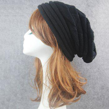 Triangle Knitting Fold Warm Beanie - BLACK