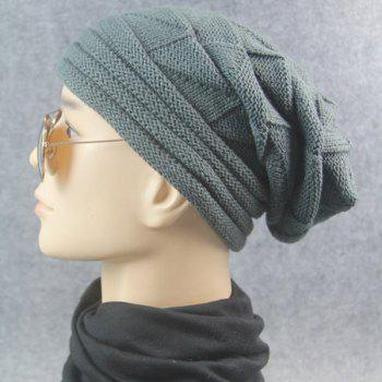 Triangle Knitting Fold Warm Beanie - Gris Foncé