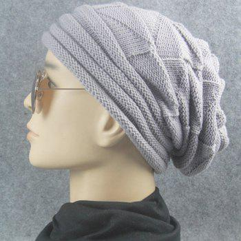 Triangle Knitting Fold Warm Beanie -  LIGHT GRAY