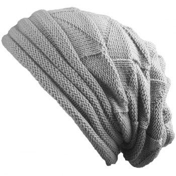 Triangle Knitting Fold Warm Beanie - LIGHT GRAY LIGHT GRAY