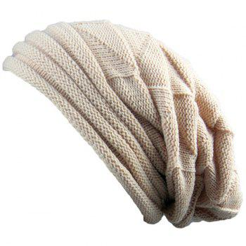 Triangle Knitting Fold Warm Beanie - BEIGE BEIGE
