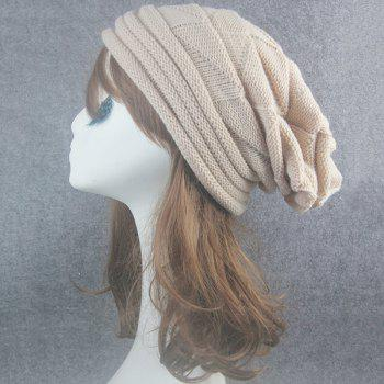 Triangle Knitting Fold Warm Beanie -  BEIGE