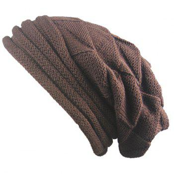 Triangle Knitting Fold Warm Beanie - COFFEE COFFEE