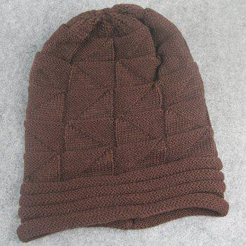 Triangle Knitting Fold Warm Beanie - COFFEE