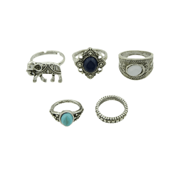 5 Pieces Bohemia Elephant Faux Gem Rings - SILVER SILVER