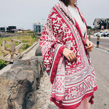 Floral Anthemy Pattern Retro Ethnic Shawl Scarf - RED RED