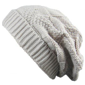 Folding Trangle Striped Knitting Beanie Hat - BEIGE BEIGE