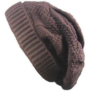 Folding Trangle Striped Knitting Beanie Hat - COFFEE COFFEE
