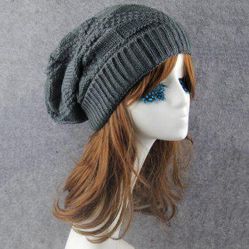 Folding Trangle Striped Knitting Beanie Hat -  DEEP GRAY
