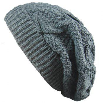 Folding Trangle Striped Knitting Beanie Hat - DEEP GRAY DEEP GRAY