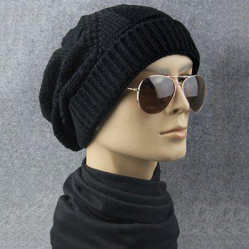 Folding Trangle Striped Knitting Beanie Hat - BLACK BLACK