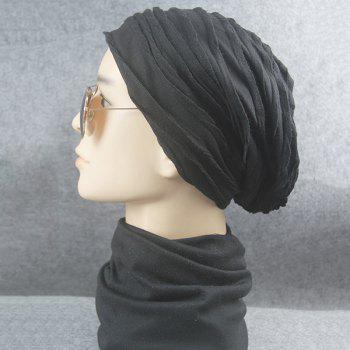 Knitting Folding Layered Warm Beanie -  BLACK