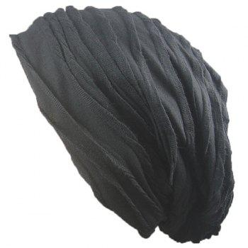 Knitting Folding Layered Warm Beanie - BLACK BLACK