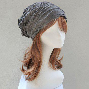 Knitting Folding Layered Warm Beanie - gris foncé